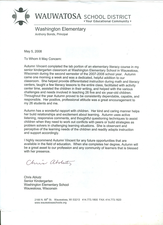 teacher letter of recommendation template
