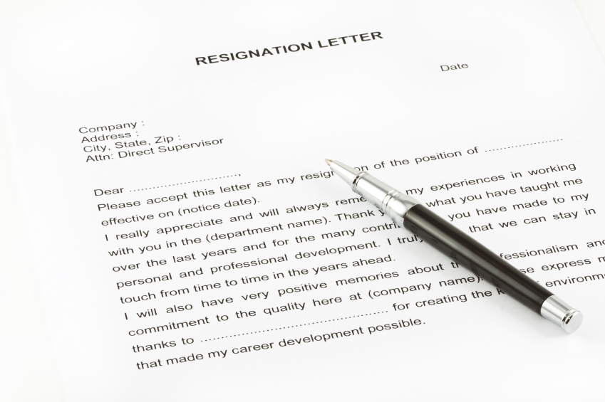 LETTER OF RESIGNATION FROM JOB ~ Sample  Templates