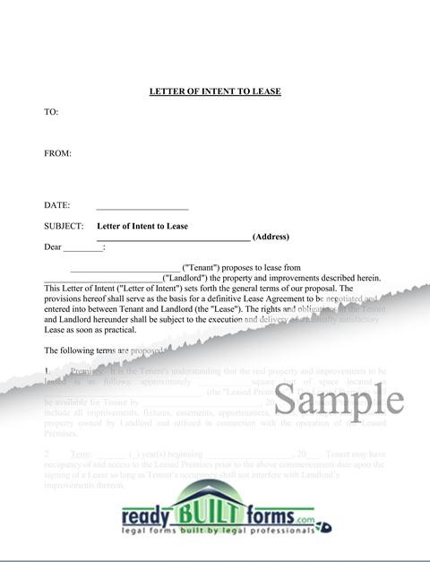 LETTER OF INTENT TO LEASE ~ Sample  Templates