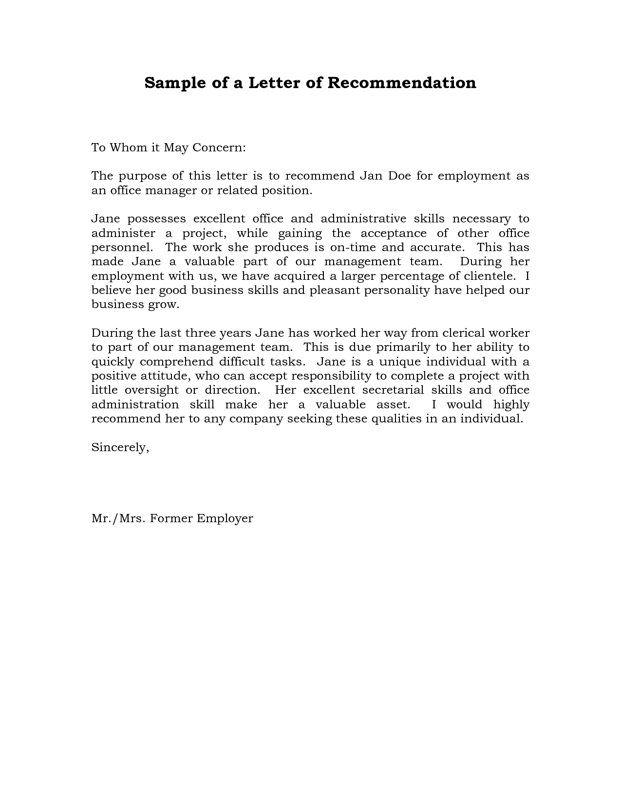 sample job letter of recommendation recommendation letter  job recommendation