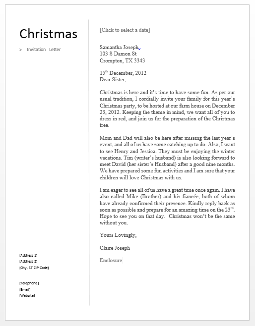 Christmas invitation letter free sample letters christmas invitation letter stopboris Image collections