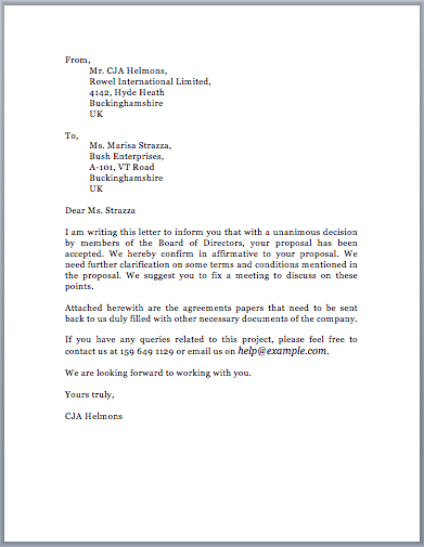 Proposal Acceptance Letter  Proposal Letter For Project