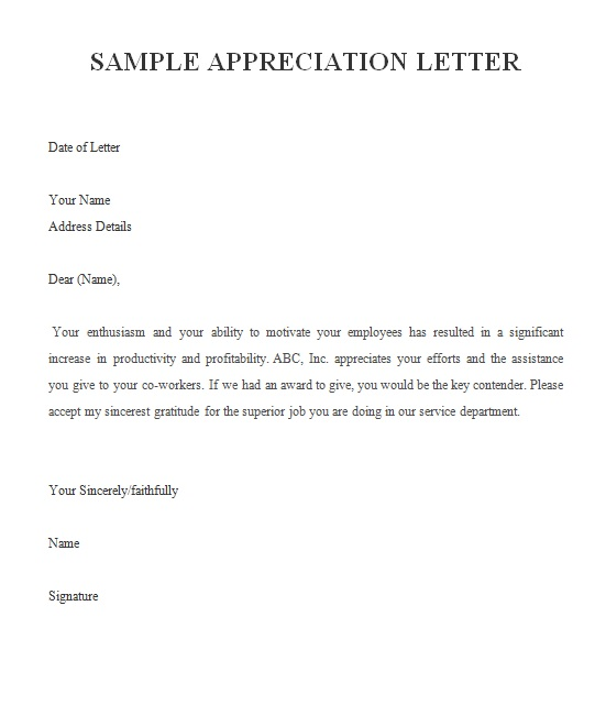 example appreciation letter writing an appreciation letter appreciation letter