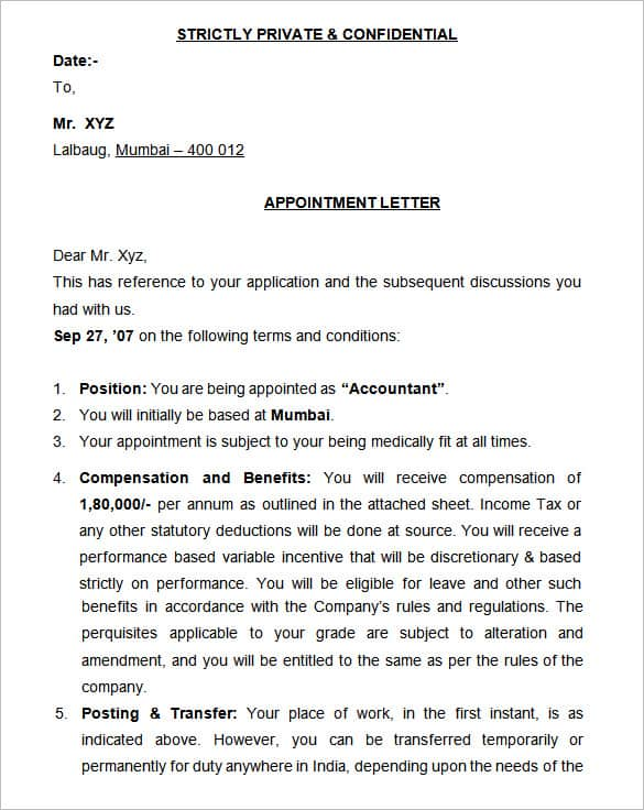 format of a appointment letter - Funfpandroid