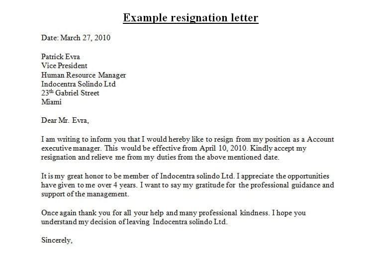 9+ Resignation Letter Sample - Sample Letters Word