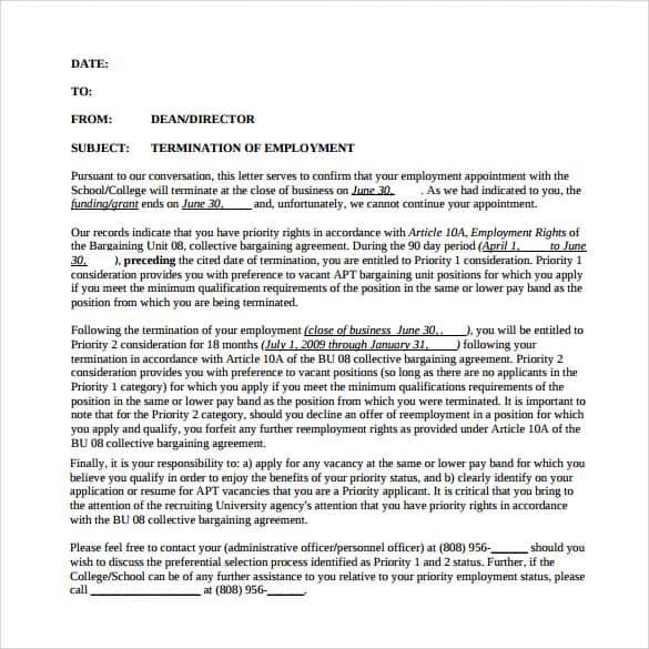 9+ Termination Letter Samples - Sample Letters Word