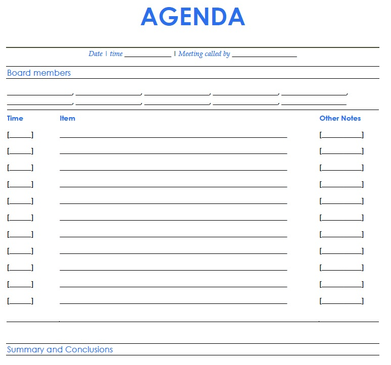 Agenda Templates Samples and Templates