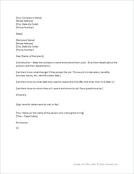 Job Offer Letter Benefits | Professional Cover Letter Example
