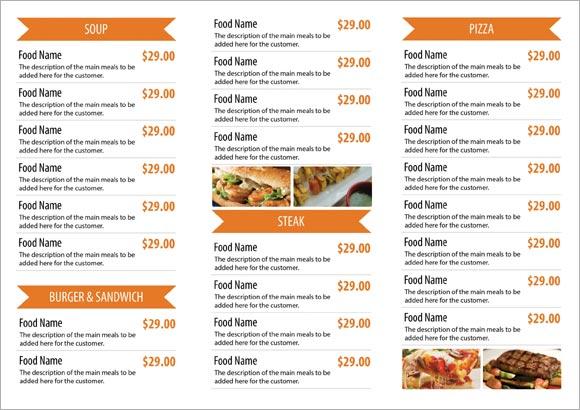 Free Restaurant Menu Templates Samples and Templates - free restaurant menu template word