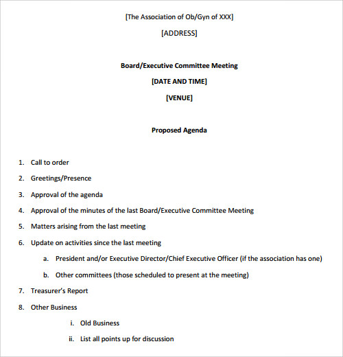 Meeting Agenda Formatted Template Samples and Templates