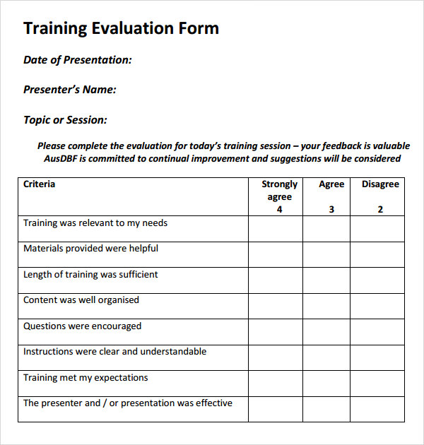 Sample Course Evaluation Form Best Training Evaluation Form Best