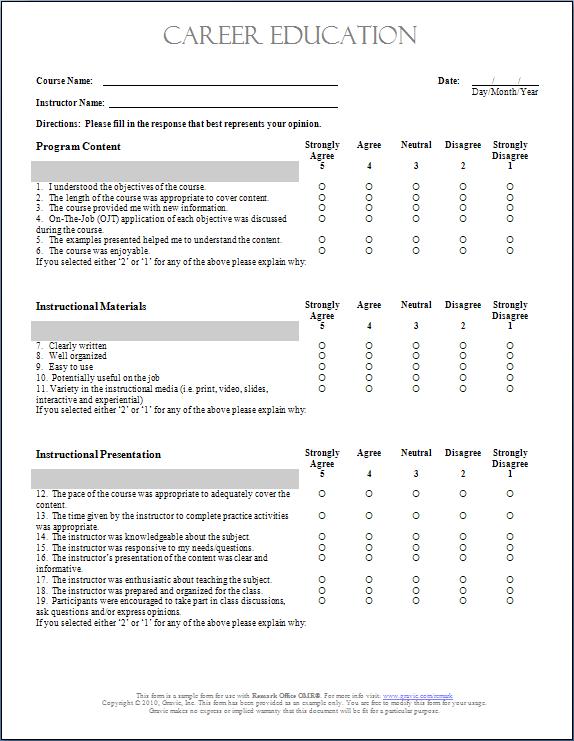 Doc600630 Training Form Sample Training Evaluation Form 15 – Sample Feedback Form Template