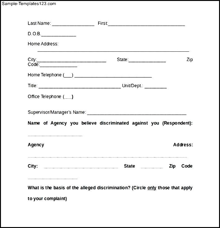 Discrimination Complaint Form of EEOC