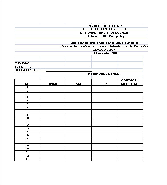 Attendance lists Templates Samples and Templates - list template