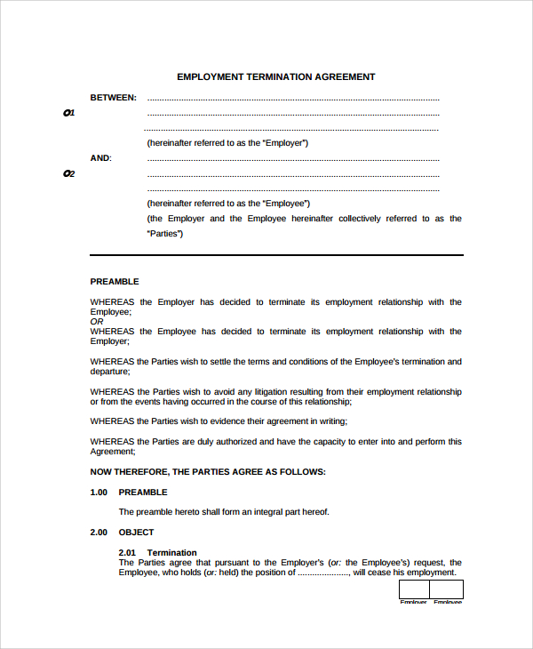 Mutual Termination Of Employment Agreement Template