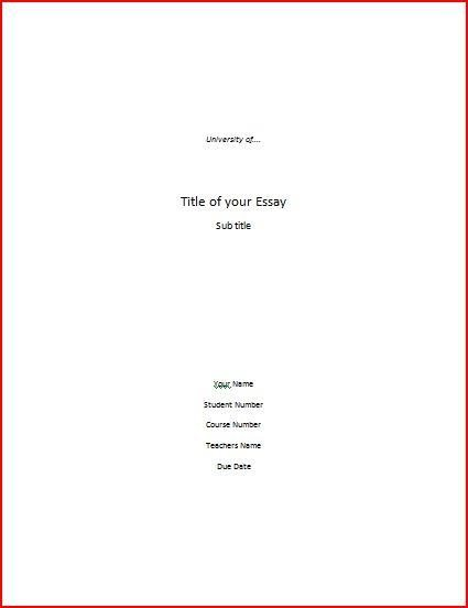 Cover page for paper example - Cover page template for research