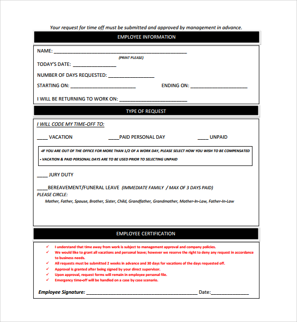 paid time off request form template - Josemulinohouse - time off request form sample
