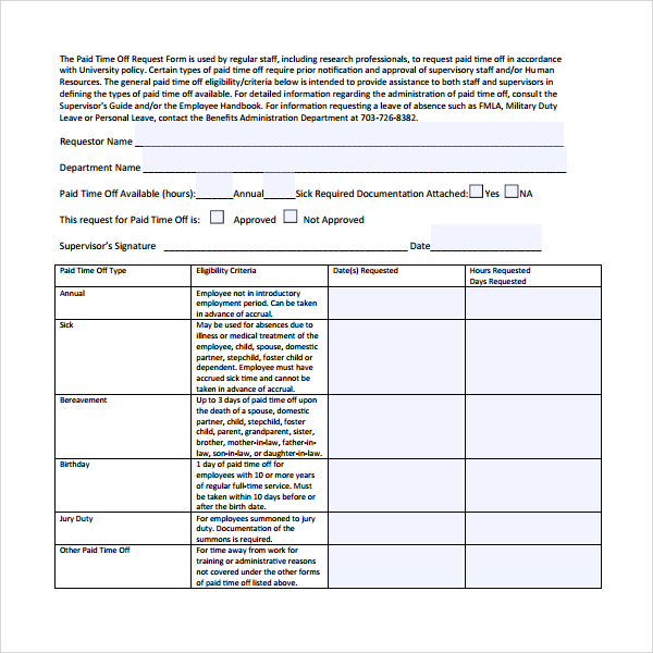Time Off Request Form Employee Time Off Request Form Sample Time - time off request forms