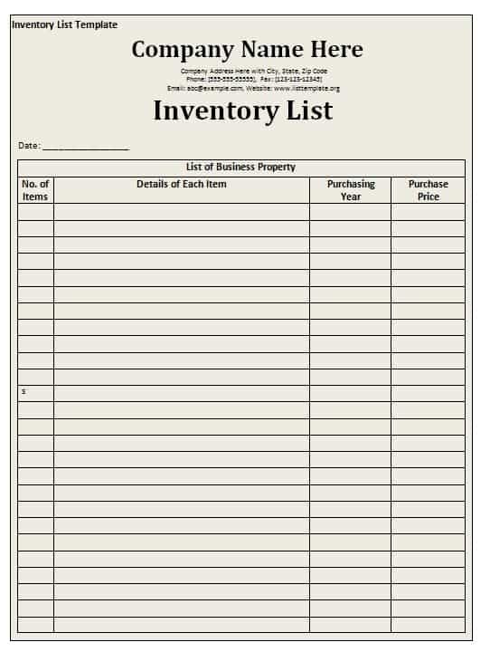 Tenancy Inventory Template The Dps Rules Out Membership And - inventory list example