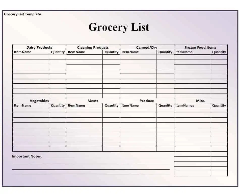Grocery List Template - Free Formats Excel Word - list template