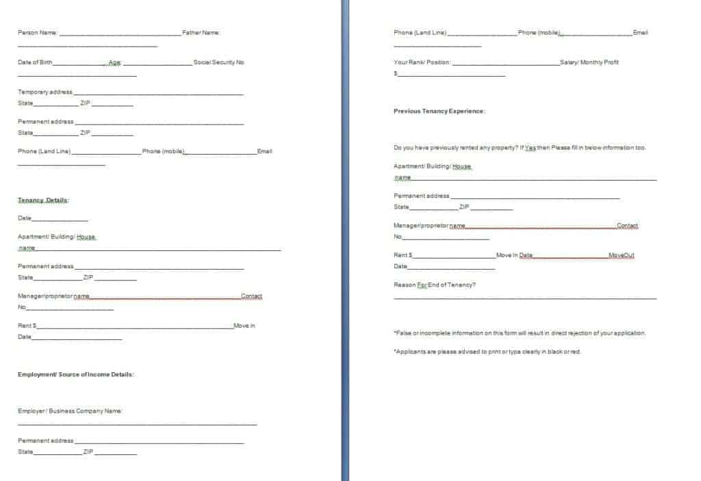 tenant verification form - Mersnproforum - Tenant Information Form