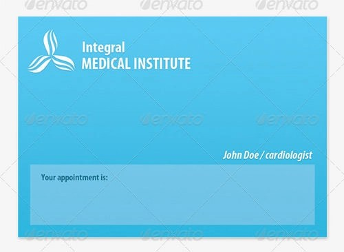 medical appointment cards templates - sample appointment card template