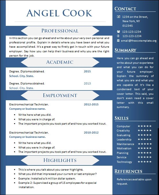 Resume objective free samples - onetip