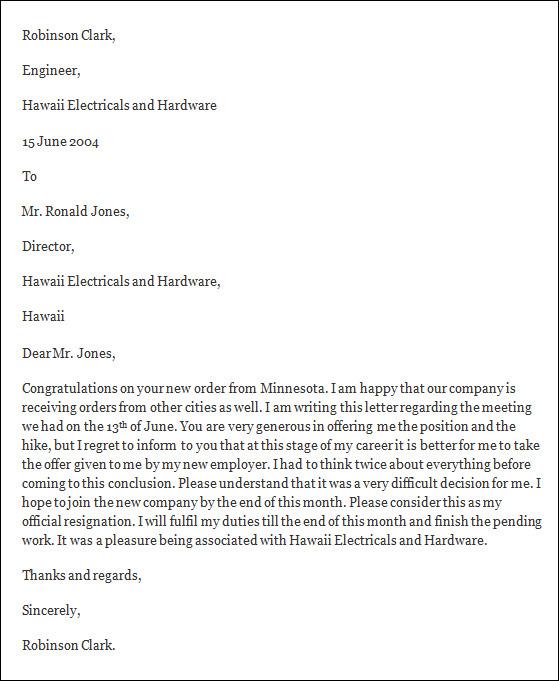 formal resignation letter template - latest resignation letter format