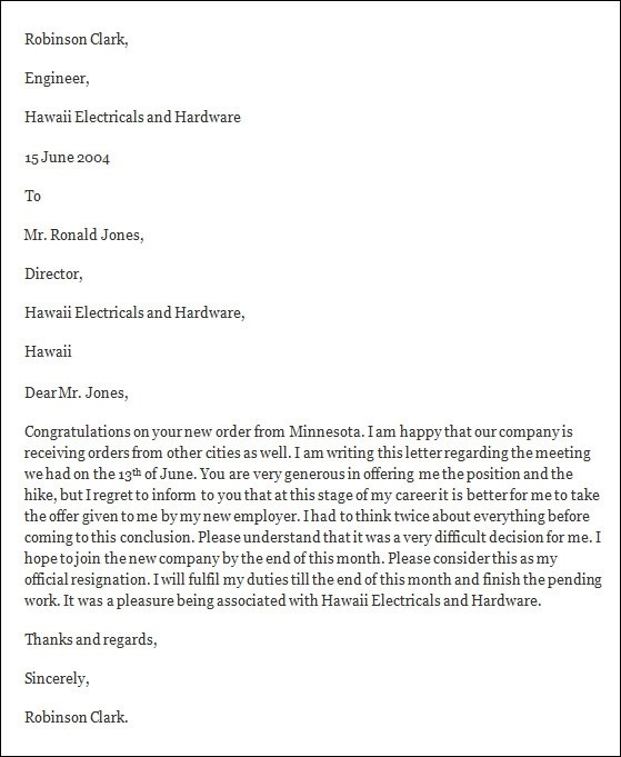 formal resignation letter template