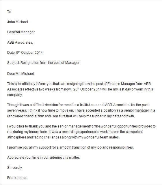 professional resignation letter template - writing a resignation letter