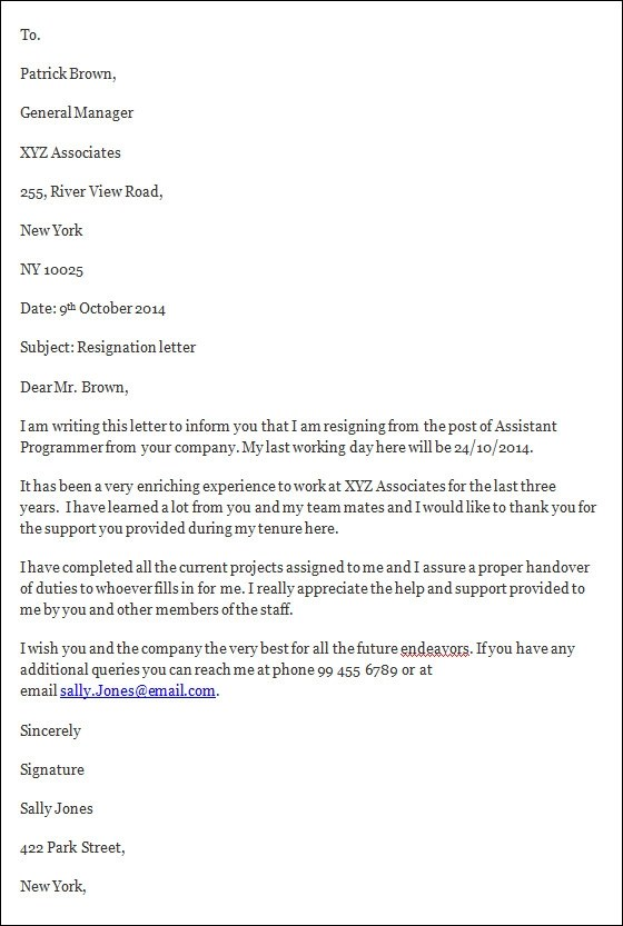 Resignation Letter Template Holidays – Resign Letter Short Notice