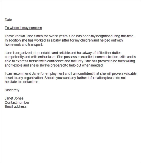 sample character reference letter template - letters of recommendation templates