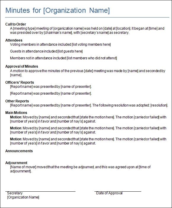 Minutes for a Formal Meeting - Template  Sample Form ccdlandinfo