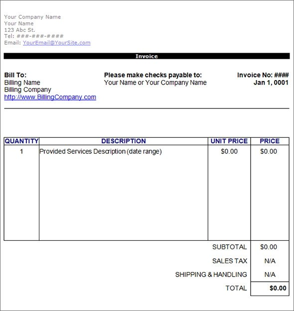 sample consulting invoice template