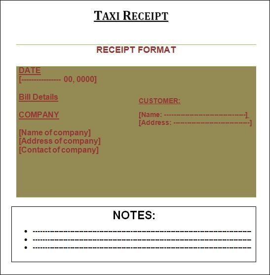 taxi cab receipt template