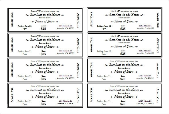 sample event tickets template - meal ticket template
