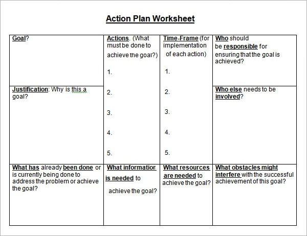free action plan template excel - action plan work sheet