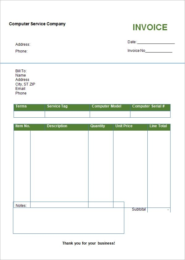 printable blank invoice template