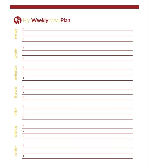 blank monthly menu planner template - blank month template