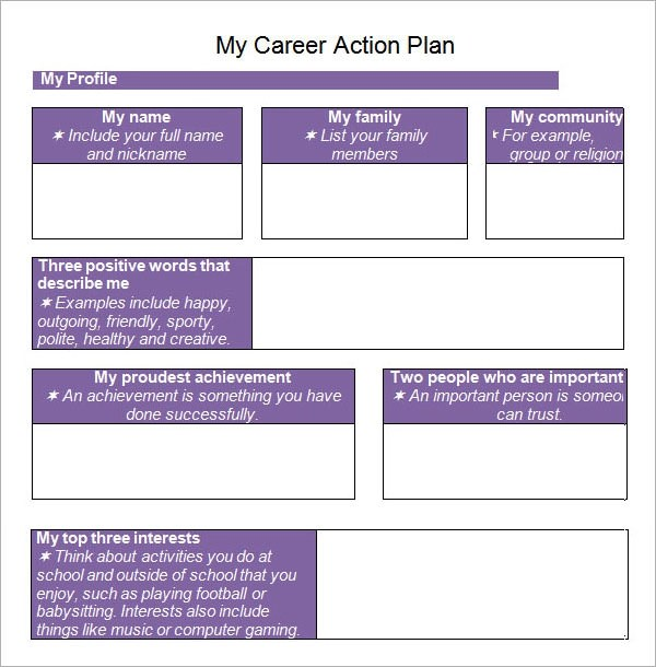 career action plan template - personal action plan template