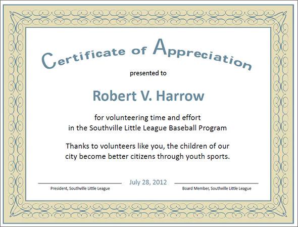 sample wording certificates appreciation templates - certificate of appreciation template