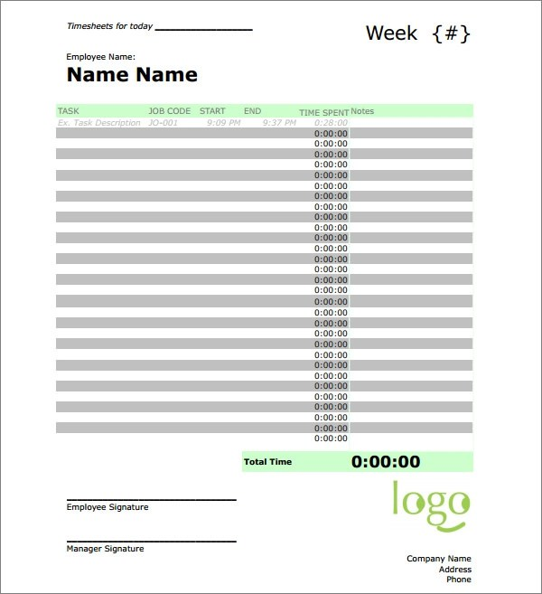 daily time sheet template