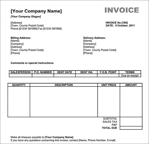 free blank commercial invoice template