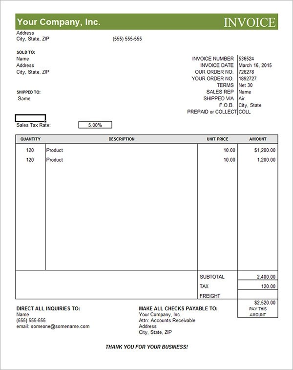 free editable invoice template word - Free Pdf Invoice