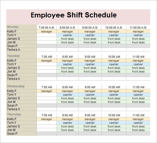 printable employee work schedule template - printable calendar sample
