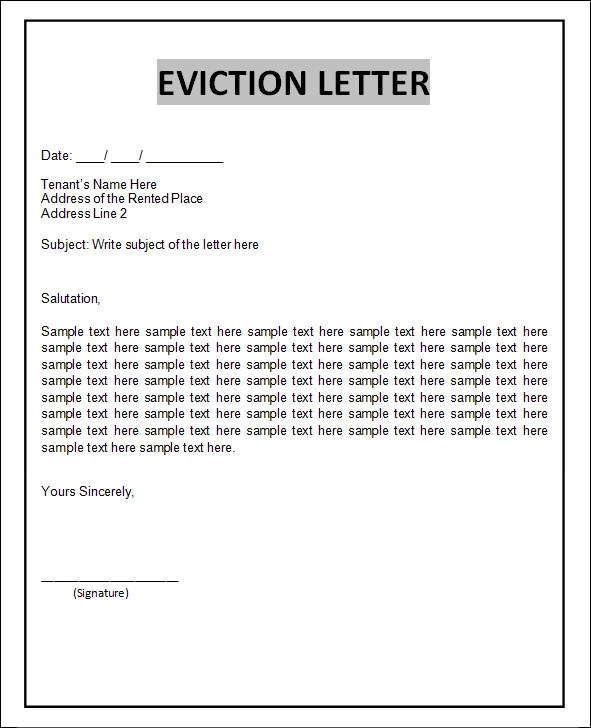sample eviction notice letter template - letter of eviction sample