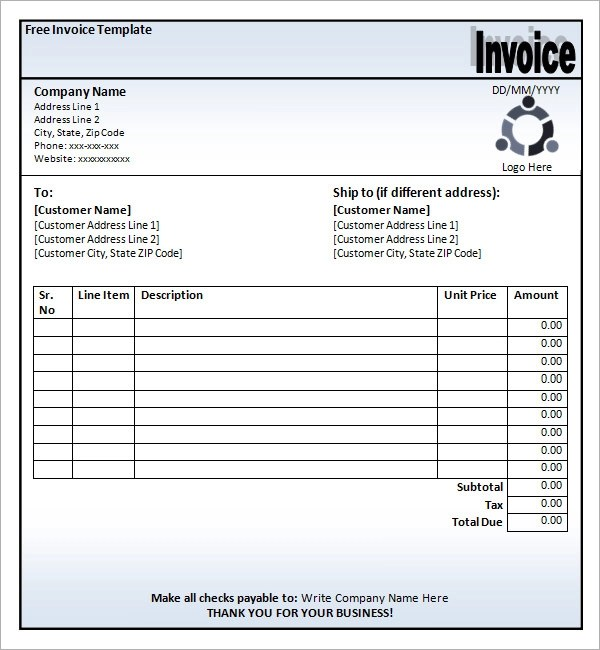 printable blank invoice template - printable blank invoices