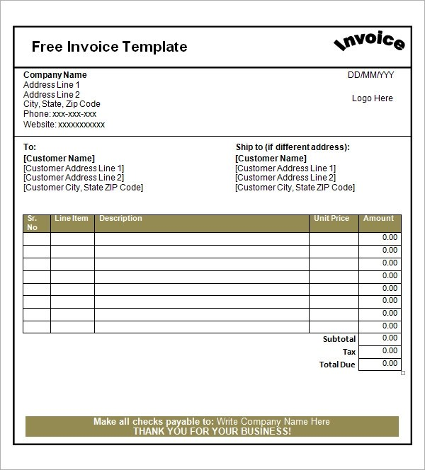 100 free invoice pdf templates print email receipt template word