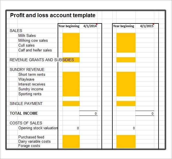 free profit and loss template - profit loss template