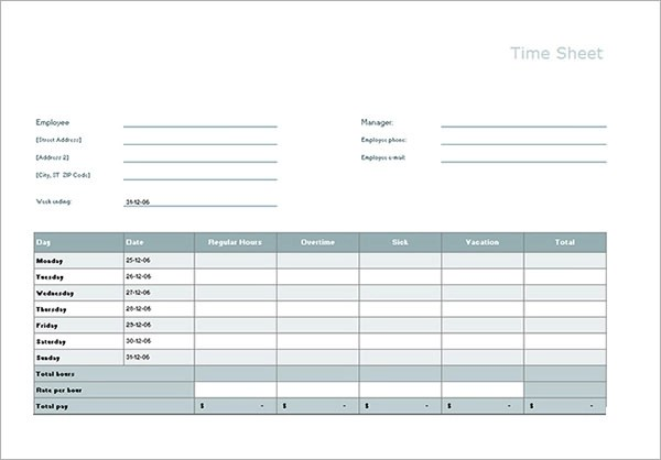 daily timesheet template excel - free timesheet excel